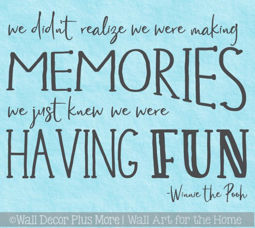 Kids Wall Decor Decal Making Memories Having Fun Playroom Quote Sticker
