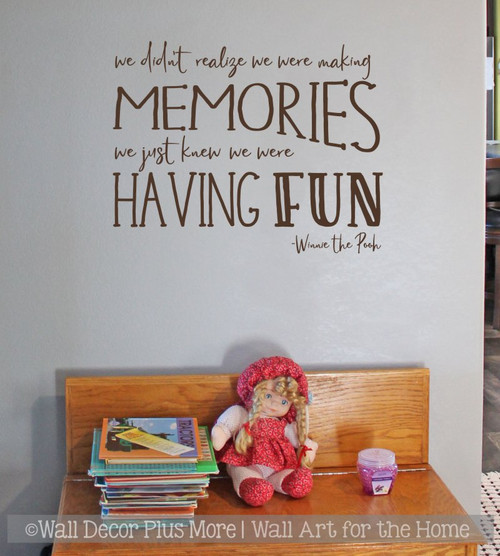 Kids Wall Decor Decal Making Memories Having Fun Playroom Quote Sticker  ChocBrown
