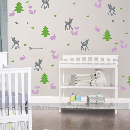 Girls Woodland Nursery Wall Decals Room Decor Trees Fox Deer Arrows 40pc Lime Lilac StormGray