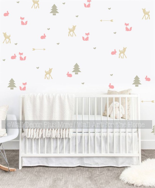 Girls Woodland Nursery Wall Decals Room Decor Trees Fox Deer Arrows CarnationPink Tumbleweed Beige