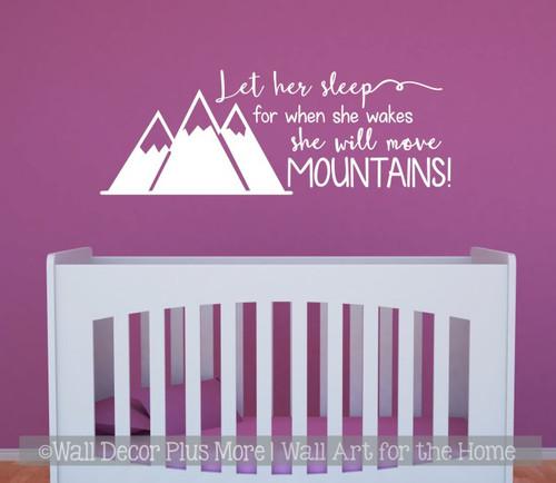Girls Woodland Nursery Decor Wall Decals Let Her Sleep Move Mountains White Sticker