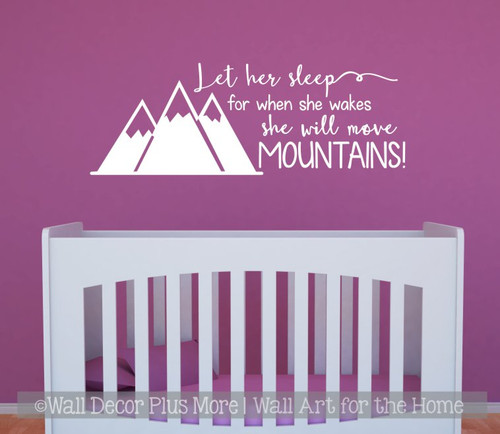 Girls Woodland Nursery Decor Wall Decals Let Her Sleep Move Mountains White Sticker