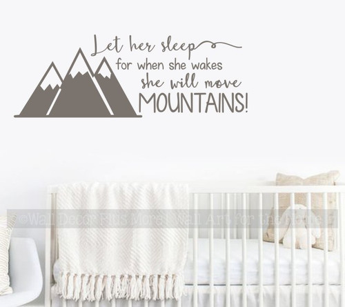 Girls Woodland Nursery Decor Wall Decals Let Her Sleep Move Mountains Castlegray