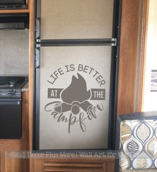 Camping Wall Decal Life Better Around Campfire RV Wall Art Sticker Quote Storm Gray