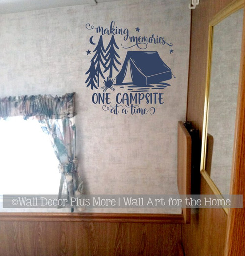 Camper Wall Art Decal Making Memories One Campsite Sticker Decor Quote Deep Blue