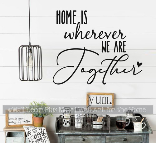 Travelers Wall Decal for Camper RV Decor Home Wherever We Are Together Black