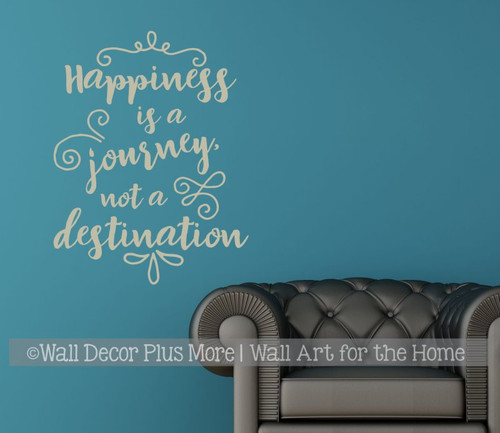 Inspirational Wall Decal Stickers Happiness a Journey Class Decor Quote WarmGray