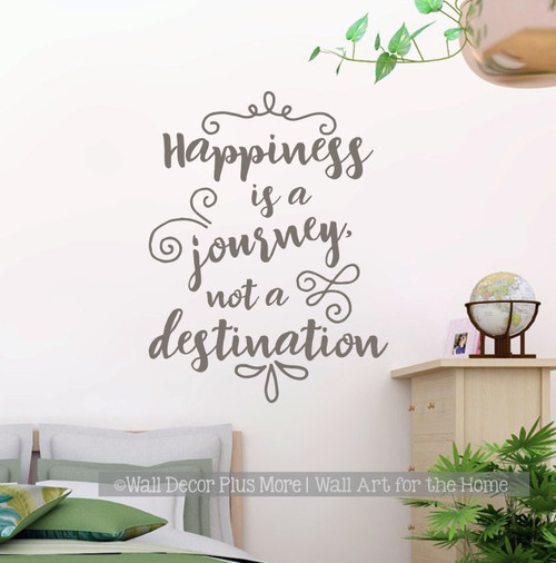 Inspirational Wall Decal Stickers Happiness a Journey Class Decor Quote Castlegray