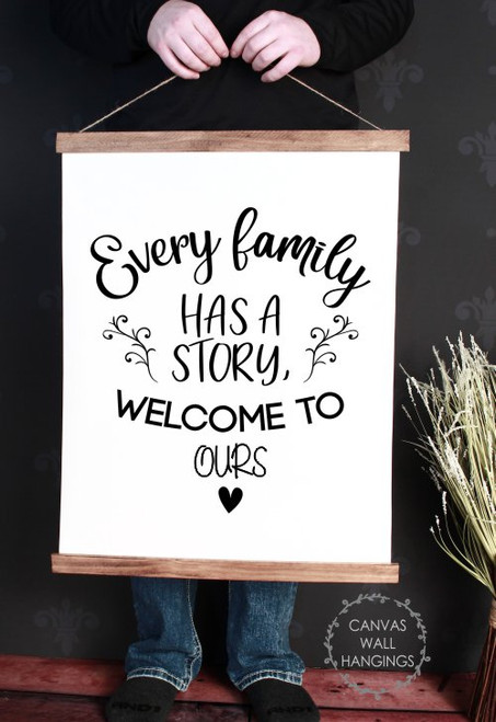 Wood & Canvas Wall Decor Hanging Every Family Has a Story Wall Art Sign Large