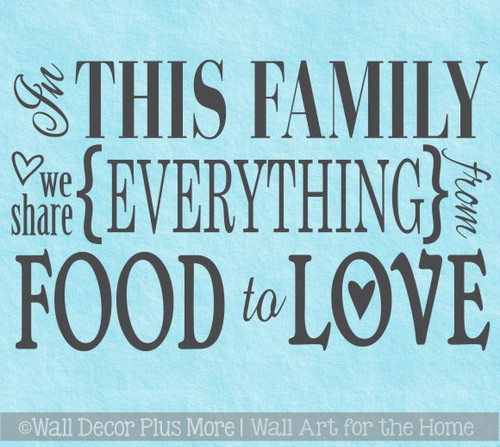 Kitchen Decor In this Family We Share Everything Wall Decal Stickers Quotes