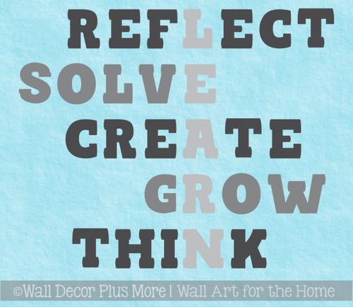 School Classroom Wall Decoration Decal Learn Grow Solve Think Word Art