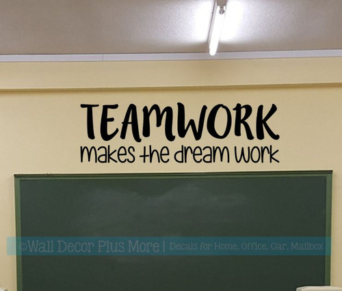 Classroom School Wall Art Decal Teamwork Quote Dream Work Vinyl Sticker-Black