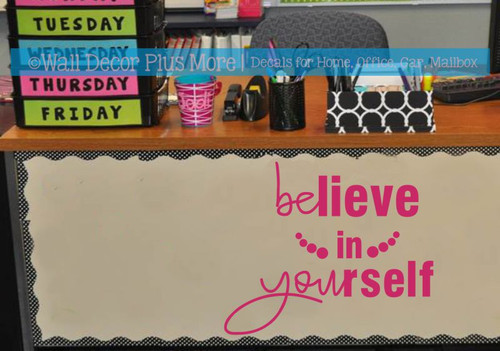 Inspirational Wall Decal Sticker Believe In Yourself School Bathroom Art-Hot Pink