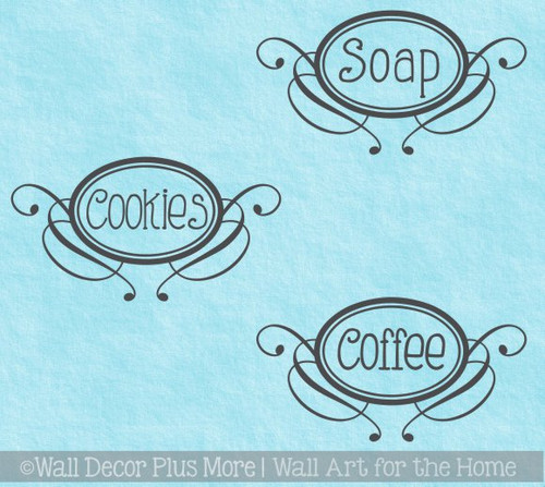 Pantry Container Decal Stickers 3pc Kitchen Labeling Enter Any 3 Words