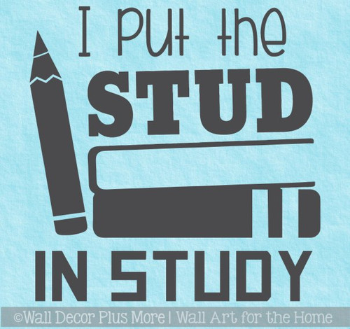 Boys School Classroom Wall Decal Sticker Stud in Study Bedroom Quote