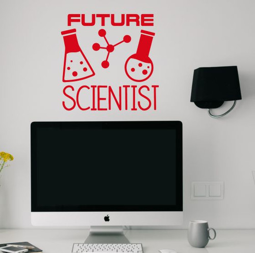 School Wall Art Decor Sticker Future Scientist Kids Bedroom Decal Quote Cherry Red
