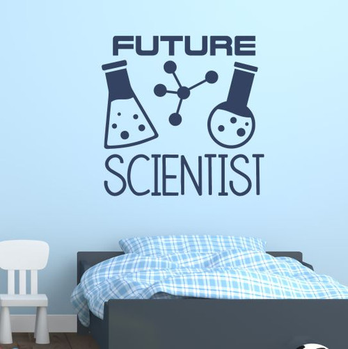 School Wall Art Decor Sticker Future Scientist Kids Bedroom Decal Quote Deep Blue