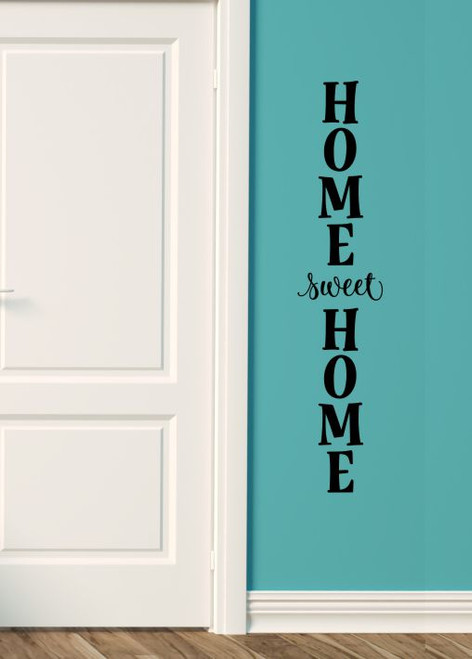 Wall Decal Sticker Home Sweet Home Vertical Decor Vinyl Art Lettering-Black