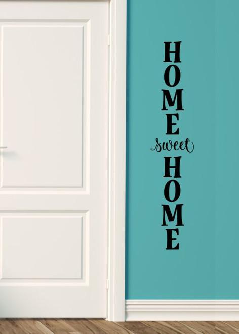 Wall Decal Sticker Home Sweet Home Vertical Decor Vinyl Art Lettering-Black