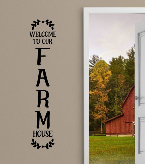 Wall Decor Sticker Welcome to Our Farmhouse Decal for Entryway Porch-Black