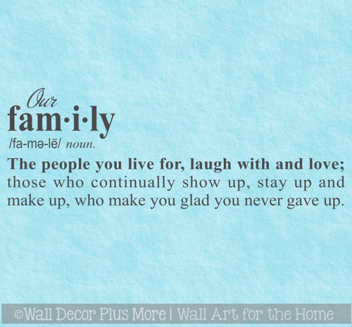 Wall Decor Sticker Our Family Definition Decal Word Art for Decoration