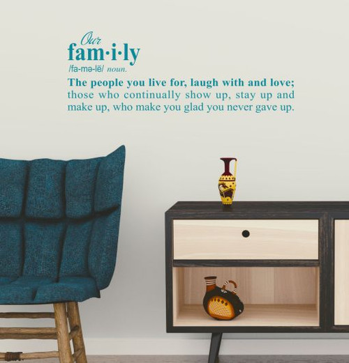 Wall Decor Sticker Our Family Definition Decal Word Art for Decoration-Teal
