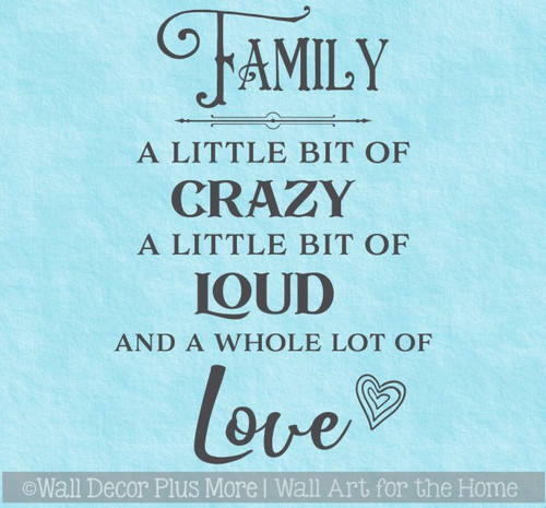 Family Quote Sticker Little Bit of Loud Crazy Love Wall Art Decor Decal