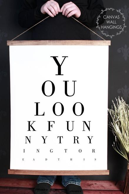 Wood & Canvas Wall Decor Hanging Bathroom Eye Vision Chart Funny Sign XLarge