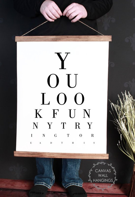 Wood & Canvas Wall Decor Hanging Bathroom Eye Vision Chart Funny Sign Large