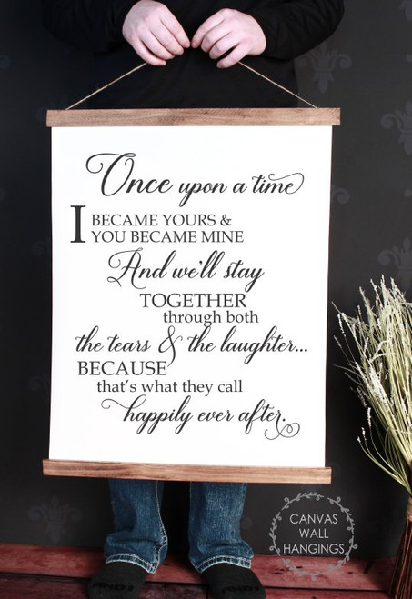 Wood Canvas Wall Hanging Happily You Became Mine Love Bedroom Art Large
