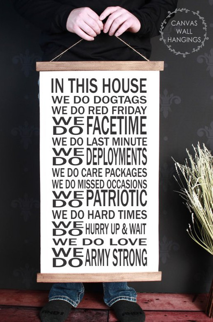 Wood & Canvas Wall Decor Hanging We Do Dogtags Army Wall Art Sign Large