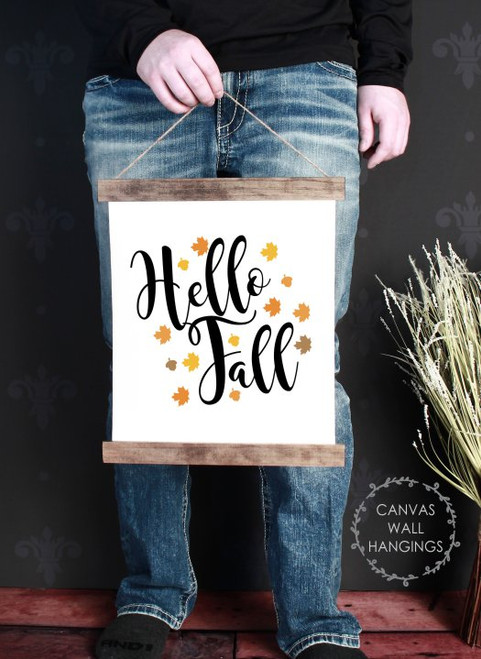 Wood Canvas Wall Hanging Decor Sign Hello Fall Art Autumn Leaves Small