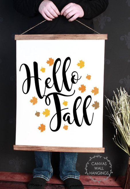 Wood Canvas Wall Hanging Decor Sign Hello Fall Art Autumn Leaves Large