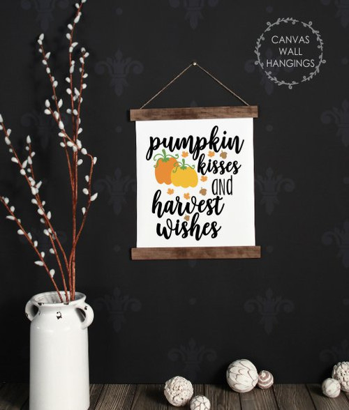 Wood Canvas Wall Hanging Fall Art Decor Sign Pumpkin Harvest Wishes Small