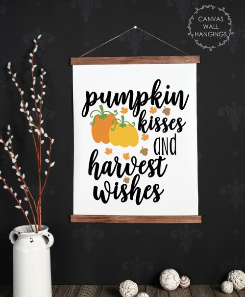 Wood Canvas Wall Hanging Fall Art Decor Sign Pumpkin Harvest Wishes Large
