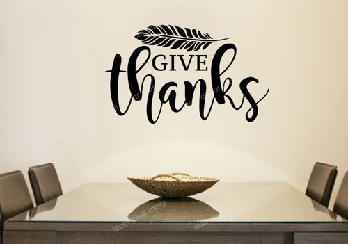 Fall Wall Art Sticker Cursive Give Thanks Feather Decor Vinyl Decal 18x11 Black
