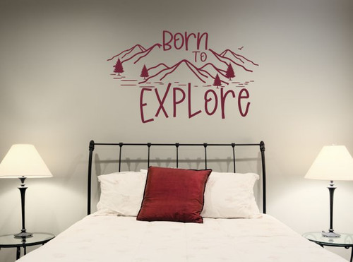 Born To Explore Wall Art Decal Mountains Sticker Travel Camper RV Decor Burgundy