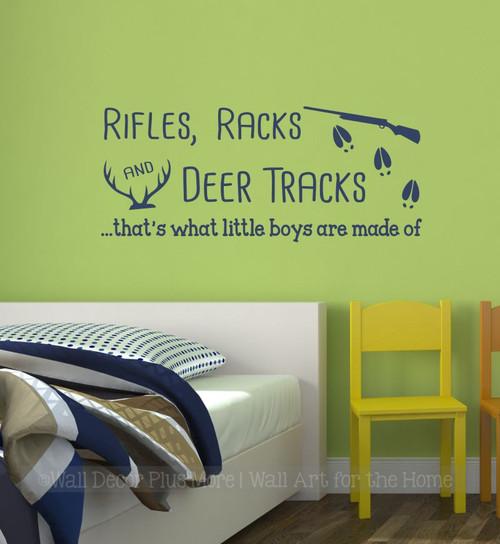 Rifle Racks Deer Track Little Boys Made Of Wall Decal Sticker Kids Room Deep Blue