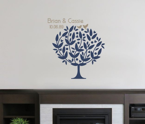 Tree Decal Art Sticker Birds in Branch Couple Names Date Wedding Gift Tumbleweed/DeepBlue