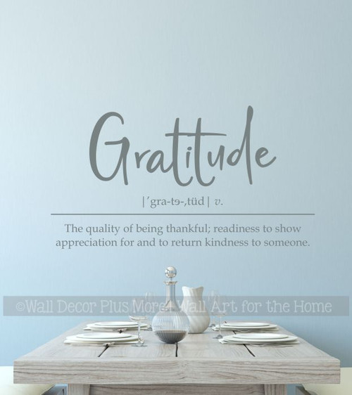 Wall Decal Sticker Gratitude Definition Vinyl Art Wall Words Lettering  Storm Gray