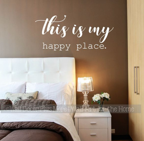 My Happy Place Inspirational Wall Words Vinyl Decal Sticker Home  White