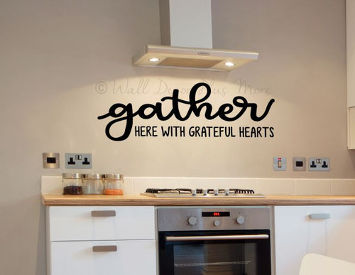 Grateful Heart Quotes Vinyl Wall Decal Sticker Gather Here Wall Words -Black