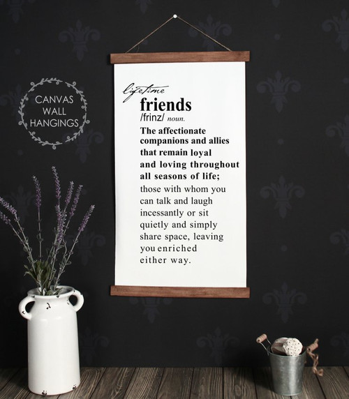 Wood Canvas Wall Hanging Sign Lifetime Friends Description Wall Decor-15x26
