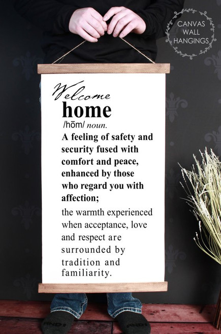 Wood Canvas Wall Hanging Sign Welcome Home Description Wall Art Decor-15x26