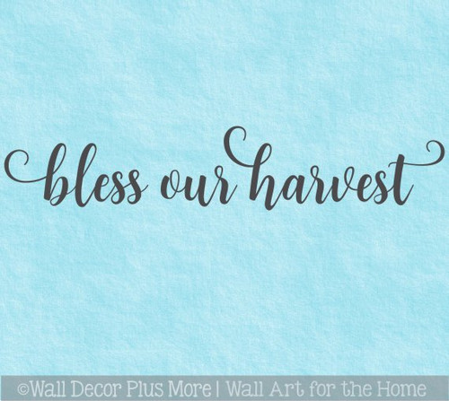 Fall Wall Decal Sticker Bless Our Harvest Cursive Lettering Wall Words