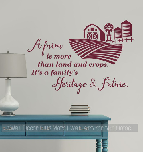 Farmer Wall Art Quote Decal Sticker A Farm Family's Heritage Future-Burgundy