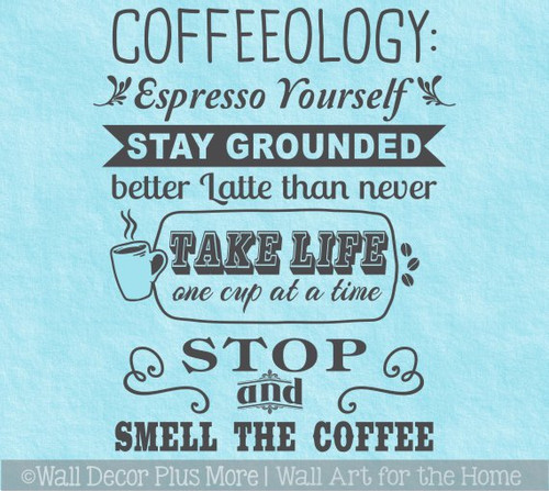 Kitchen Wall Decal Coffeeology Quote Stay Grounded Wall Decor Sticker