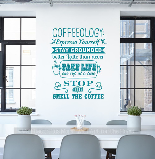 Kitchen Wall Decal Coffeeology Quote Stay Grounded Wall Decor Sticker-Teal