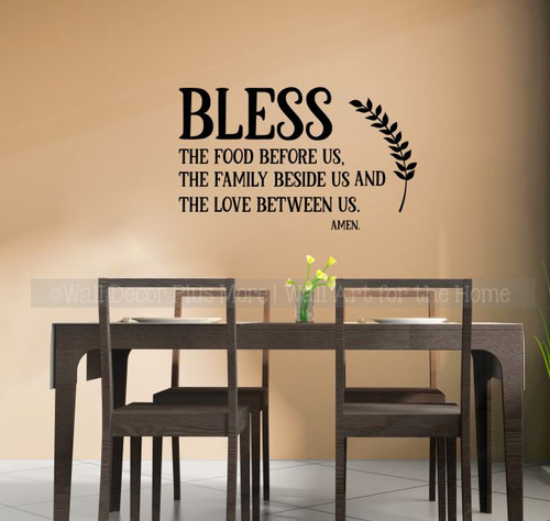 Family Wall Quote Prayer Bless Food Family Love Kitchen Decal Stickers-Black