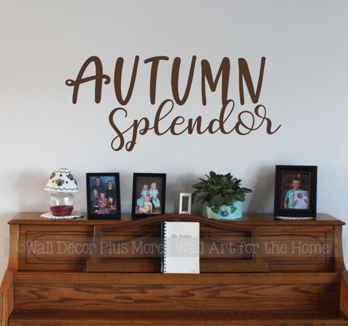 Autumn Splendor Wall Quote Decal Sticker Fall Decorating in Home Office-Chocolate Brown